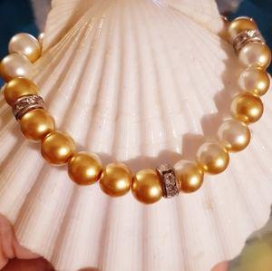 🧡⚪Orange & White Two⚪🧡⚪Tone Pearl Bracelet⚪🧡